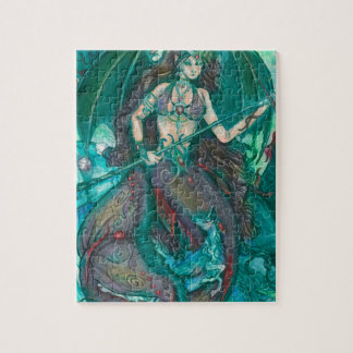 Mermaid Unicorn Ocean Sea Teal Green Jigsaw Puzzle
