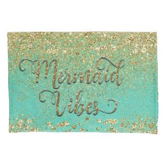 Mermaid Vibes Cascading Gold Glitter Teal Glam Pillowcase