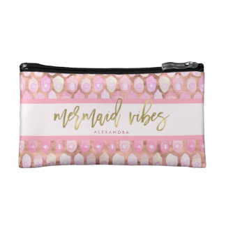 Mermaid Vibes | Glam Pink and Typography Makeup Bag