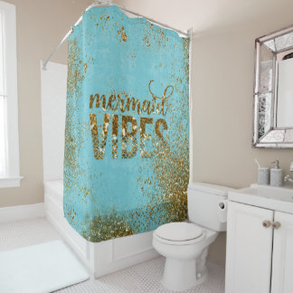 Mermaid Vibes- Gold Glitter Typography on Teal
