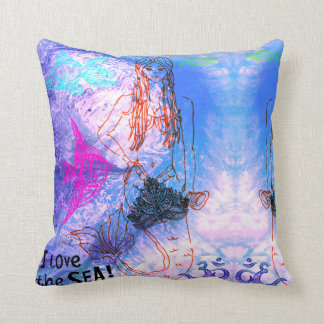Mermaid Warrior Throw Pillow