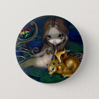 """""""Mermaid with a Golden Dragon"""" Button"""