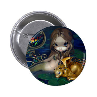 """Mermaid with a Golden Dragon"" Button"