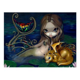 """Mermaid with a Golden Dragon"" Postcard"