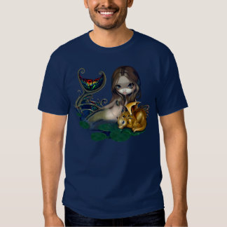 Mermaid with a Golden Dragon Shirt fantasy art