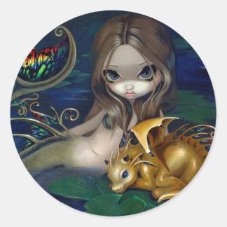 """Mermaid with a Golden Dragon"" Stciker Sticker"
