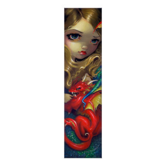 Mermaid with a Scarlet Dragon ART PRINT fantasy