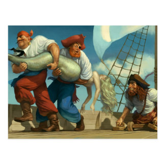 Mermaid With A Trio of Pirates Postcard