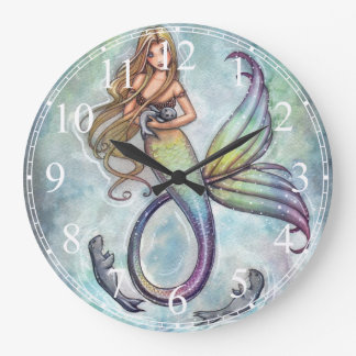 Mermaid with Baby Seals Clock