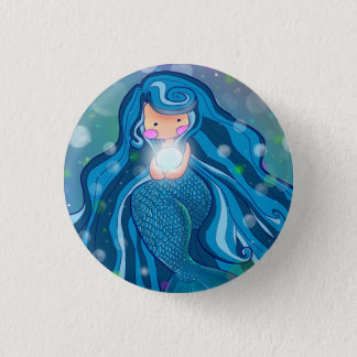 Mermaid with bright pearl Button