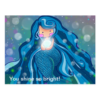 Mermaid with bright pearl postcard