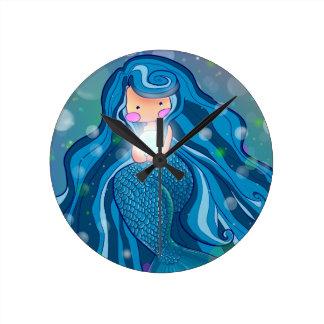 Mermaid with bright pearl wall clock
