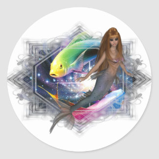 Mermaid with Colorful Fish Background Round Sticker