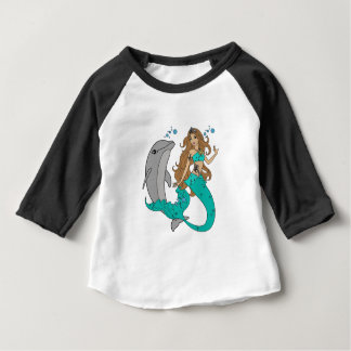 Mermaid with Dolphin Baby T-Shirt
