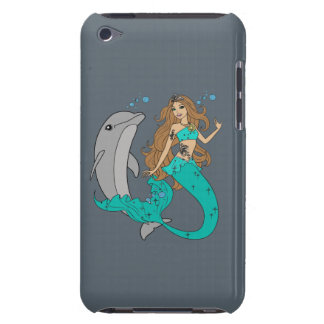 Mermaid with Dolphin Barely There iPod Cases