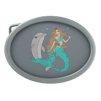 Mermaid with Dolphin Belt Buckles