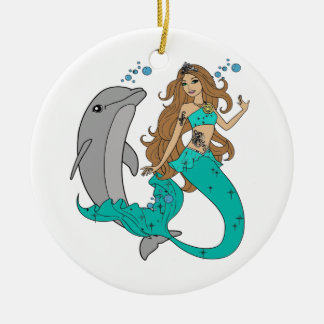 Mermaid with Dolphin Ceramic Ornament
