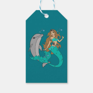 Mermaid with Dolphin Gift Tags
