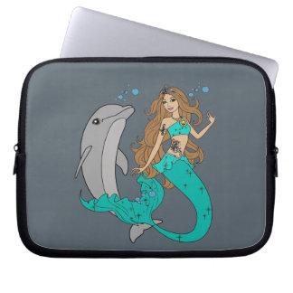 Mermaid with Dolphin Laptop Sleeve
