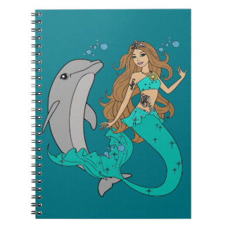Mermaid with Dolphin Note Books