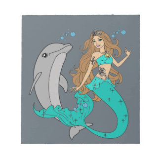 Mermaid with Dolphin Notepad