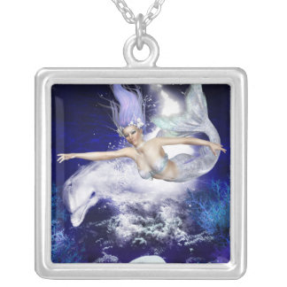 Mermaid with Dolphin  Sterling Silver Necklace