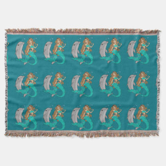 Mermaid with Dolphin Throw Blanket