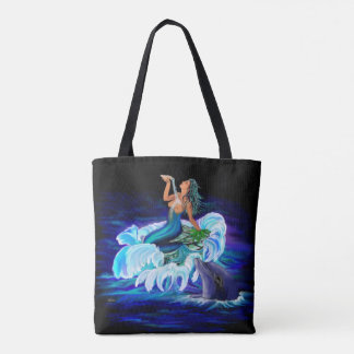 Mermaid with Dolphin Tote Bag