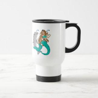Mermaid with Dolphin Travel Mug