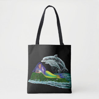 Mermaid with Dolphins Tote Bag