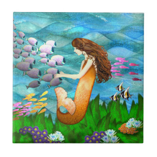 Mermaid with Fish Tile
