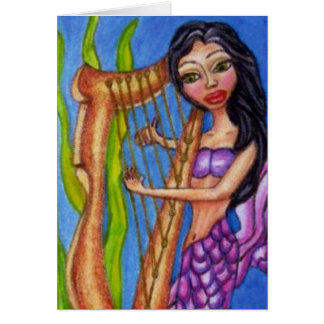 Mermaid With Harp Notecard