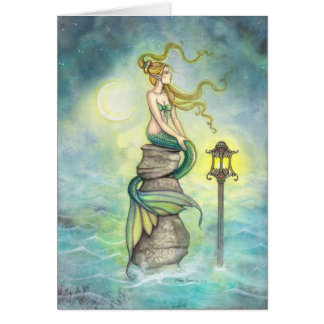 Mermaid with Lantern and Moon Fantasy Art Cards