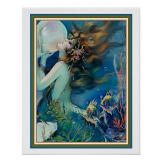 """""""Mermaid with Pearl"""" Art Deco by Henry Clive 16x20 Poster"""