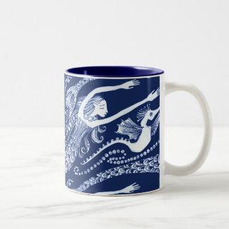 Mermaid with Pearls and Seahorse Two-Tone Coffee Mug