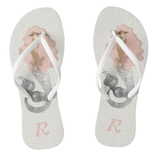 Mermaid with Pink Hair and Monogram Flip Flops