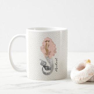Mermaid with Pink Hair and Your Name Coffee Mug