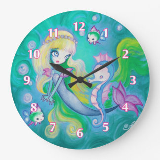 Mermaid With Sea Horse And Fish Large Clock