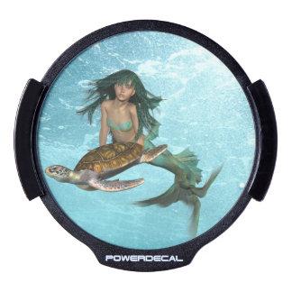 Mermaid with Sea Turtle LED Car Window Decal