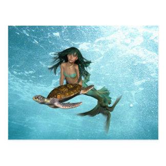 Mermaid with Sea Turtle  Postcard