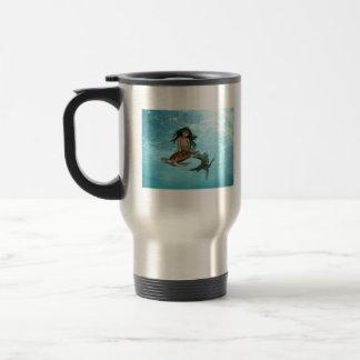 Mermaid with Sea Turtle Travel Mug