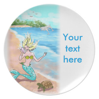 Mermaid With Seashell Turtle and Dolphins Dinner Plates