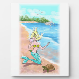 Mermaid With Seashell Turtle and Dolphins Plaque