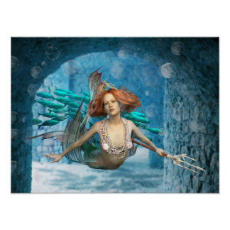 Mermaid with trident & Fish Poster