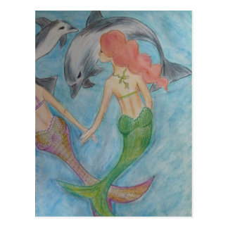 Mermaids and dolphins postcard