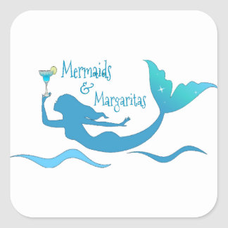 Mermaids and Margarita Wrapping Supplies Square Sticker