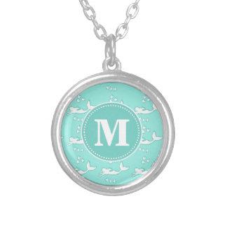 Mermaids Aqua Mint Monogram Necklace