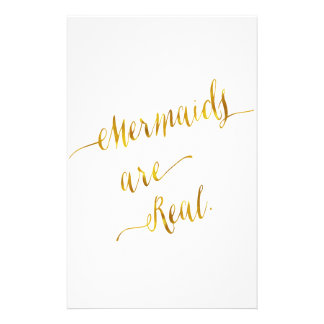 Mermaids Are Real Quote Gold Faux Foil White Stationery