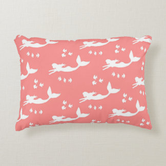 Mermaids Coral and White Accent Pillow