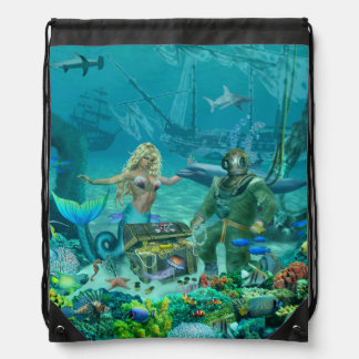 Mermaid's Coral Reef Treasure Drawstring Bag